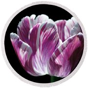 Purple And White Marbled Tulip Round Beach Towel by Rona Black