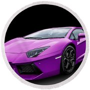 Purple Aventador Round Beach Towel