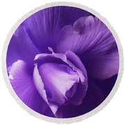 Purple Begonia Flower Round Beach Towel