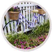Purple Bicycle And Flowers Round Beach Towel