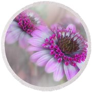 Purple Blooms Round Beach Towel