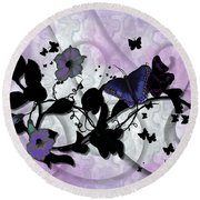 Purple Butterflies Round Beach Towel