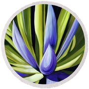 Purple Cactus Round Beach Towel