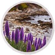 Purple California Coastline Round Beach Towel
