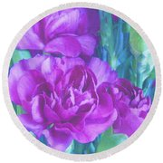 Purple Carnations Round Beach Towel