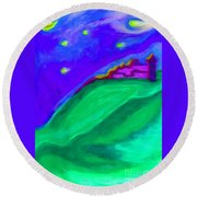 Purple Castle By Jrr Round Beach Towel