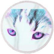 Purple Cat Eyes Round Beach Towel