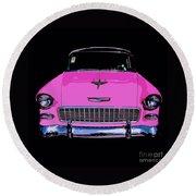 Purple Chevy Pop Art Round Beach Towel