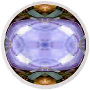 Purple Clam Shell Mandala Yantra Round Beach Towel by Marie Jamieson