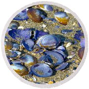 Purple Clam Shells On A Beach Round Beach Towel