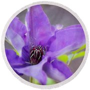 Purple Clematis Close Up Round Beach Towel