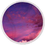 Purple Clouds Majesty Round Beach Towel
