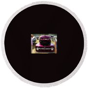 Purple Color Pickup Truck Round Beach Towel
