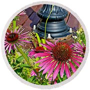 Purple Coneflowers By Former Railroad Depot In Pipestone-minnesota Round Beach Towel