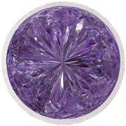 Purple Crystal Gem Round Beach Towel