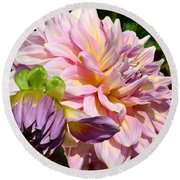 Purple Dahlia With Bud Round Beach Towel