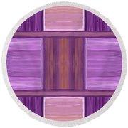 Purple Dreams Squares Round Beach Towel