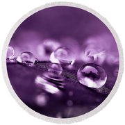Purple Droplets Round Beach Towel