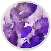 Purple Elephants Round Beach Towel