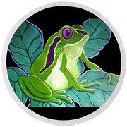 Purple Eyed Frog Round Beach Towel