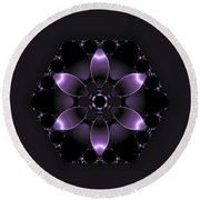 Purple Fantasy Flower Round Beach Towel