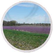 Purple Field Round Beach Towel