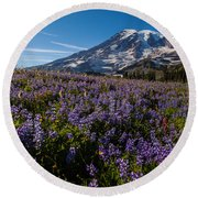Purple Fields Forever And Ever Round Beach Towel
