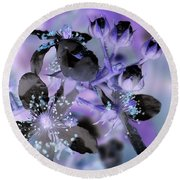 Purple Flower Abstract  2 Round Beach Towel