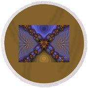 Purple  Flower Fractal Round Beach Towel