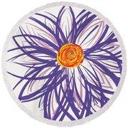 Purple Flower Round Beach Towel