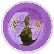 Purple Flower Orb Round Beach Towel