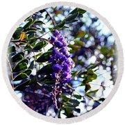 Purple Flowering Tree Round Beach Towel