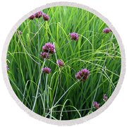 Purple Flowers And Grasses Round Beach Towel