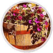 Purple Flowers In Rusty Bucket Round Beach Towel