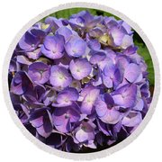 Purple Flowers Round Beach Towel
