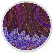 Purple Forest Moon Round Beach Towel