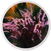 Purple Fountain Grass Fantasy Round Beach Towel