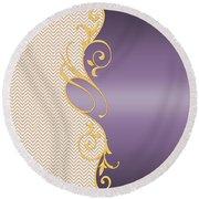 Purple Gold Chevron Round Beach Towel