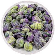 Purple Green Brussels Sprouts Round Beach Towel