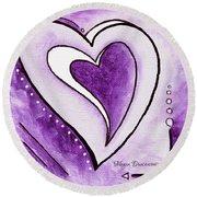 Purple Heart Love Painting Pop Art Blessed By Megan Duncanson Round Beach Towel by Megan Duncanson