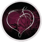 Purple Heart Of Passion Round Beach Towel