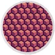 Purple Hexagonal Pattern Round Beach Towel