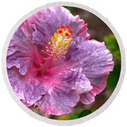Purple Hibiscus Round Beach Towel