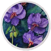 Purple Hibiscus Round Beach Towel