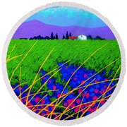 Purple Hills Round Beach Towel