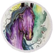 Purple Horse Round Beach Towel