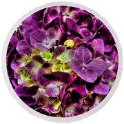 Purple Hortensia After Summer Rain Round Beach Towel