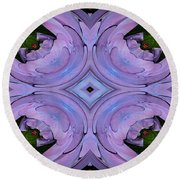 Purple Hydrangea Flower Abstract 2 Round Beach Towel