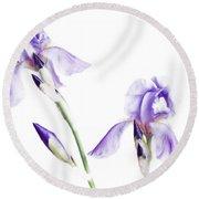 Purple Iris Glow Round Beach Towel