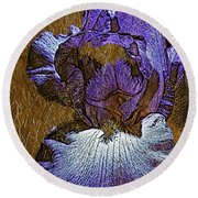 Purple Iris Gold Leaf Round Beach Towel